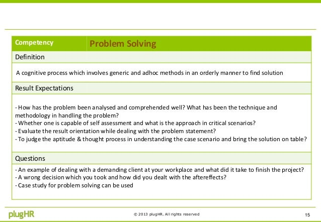 problem solving competency definition