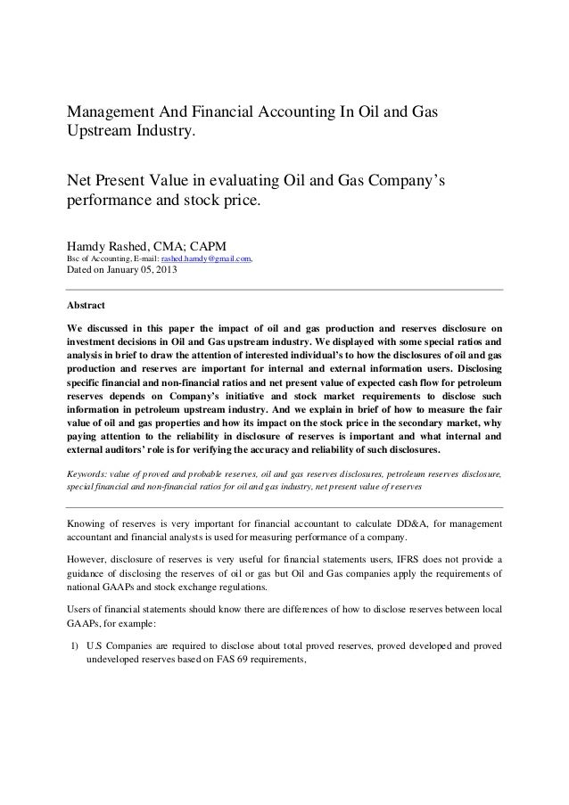Management And Financial Accounting In Oil and GasUpstream Industry.Net Present Value in evaluating Oil and Gas Company'sp...