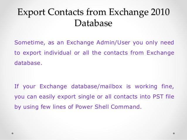 How to export contacts from exchange 2010