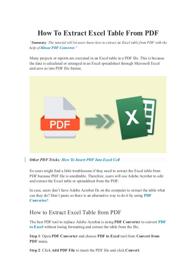 """How To Extract Excel Table From PDF """"Summary: The tutorial will let users know how to extract an Excel table from PDF with..."""