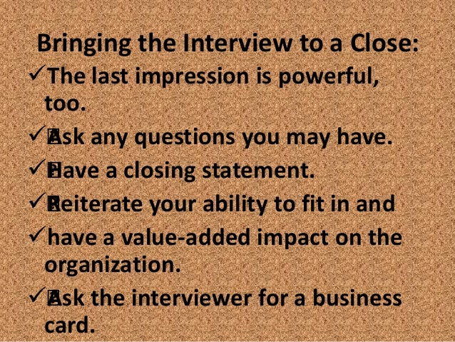 interview closing statement