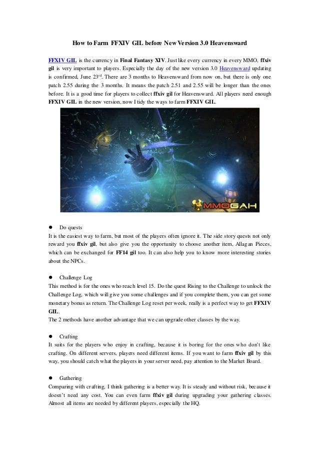 How to Farm FFXIV GIL before New Version 3 0 Heavensward