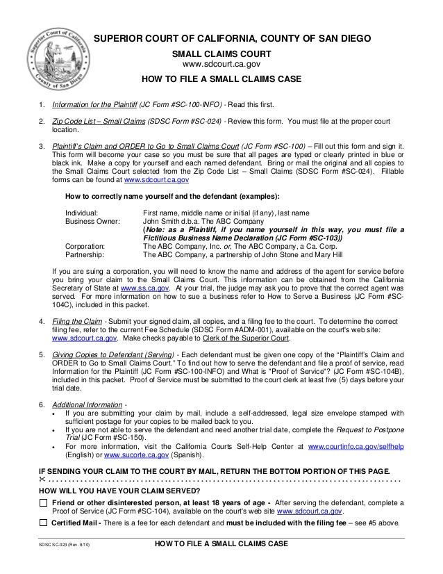 How to file a small claims case in san diego