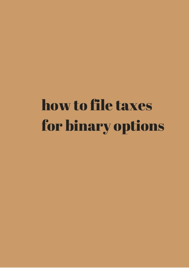 Binary options taxes us