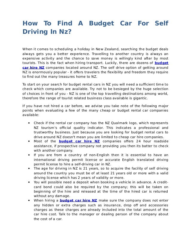 How To Find A Budget Car For Self Driving In Nz? When it comes to scheduling a holiday in New Zealand, searching the budge...