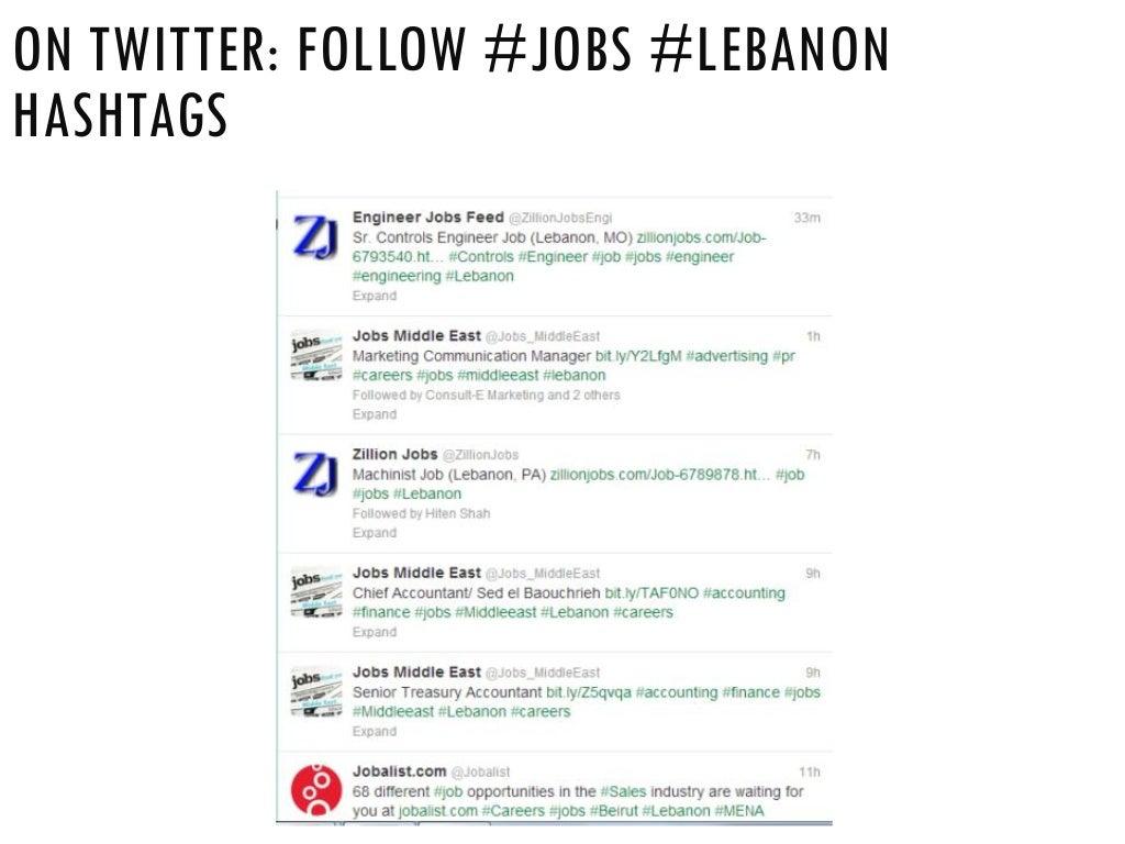 ON TWITTER: FOLLOW #JOBS #LEBANON