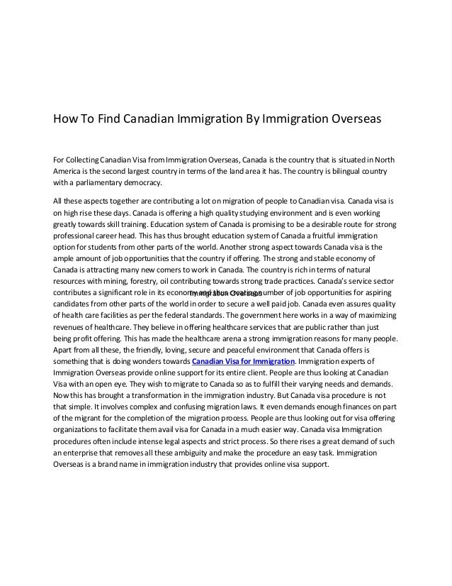 Immigration Overseas How To Find Canadian Immigration By Immigration Overseas For Collecting Canadian Visa from Immigratio...