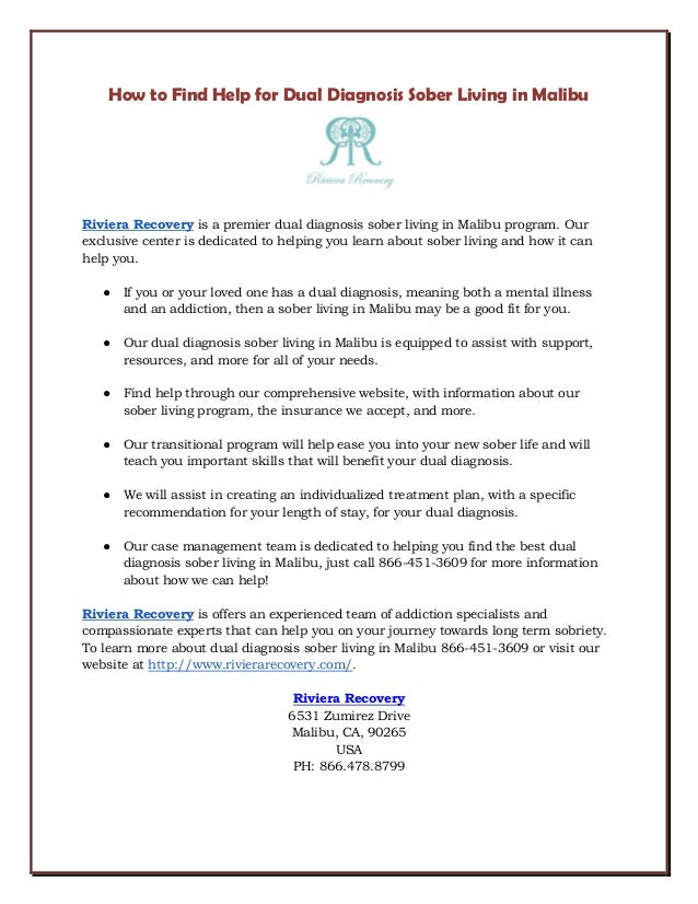 How To Find Help For Dual Diagnosis Sober Living In Malibu Riviera Recovery  Is A Premier