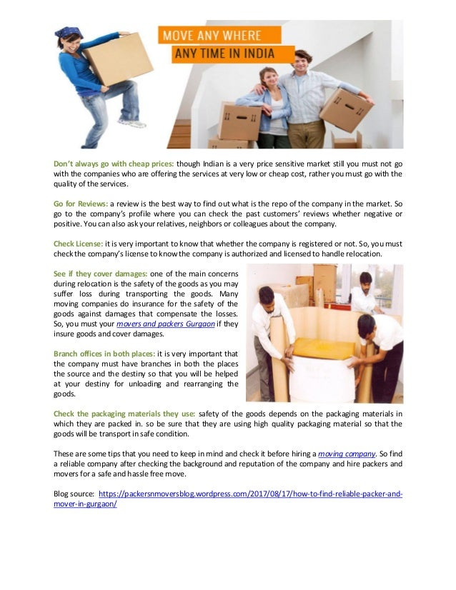 How to find reliable packer and mover in gurgaon