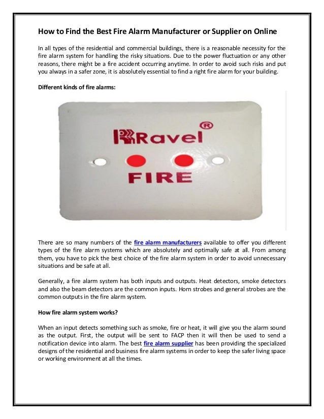 How To Find The Best Fire Alarm Manufacturer Or Supplier On Online