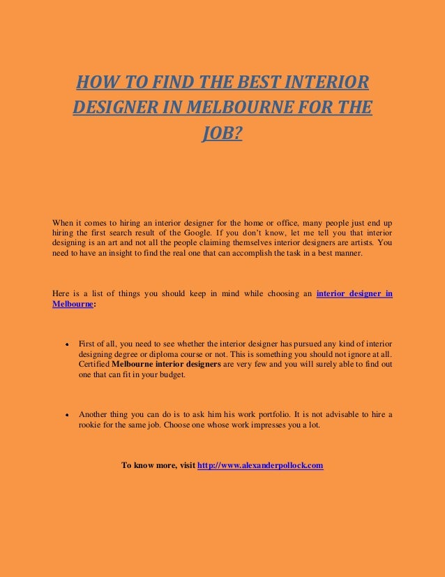 HOW TO FIND THE BEST INTERIOR DESIGNER IN MELBOURNE FOR JOB When It Comes