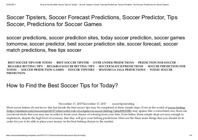 How to find the best soccer tips for today