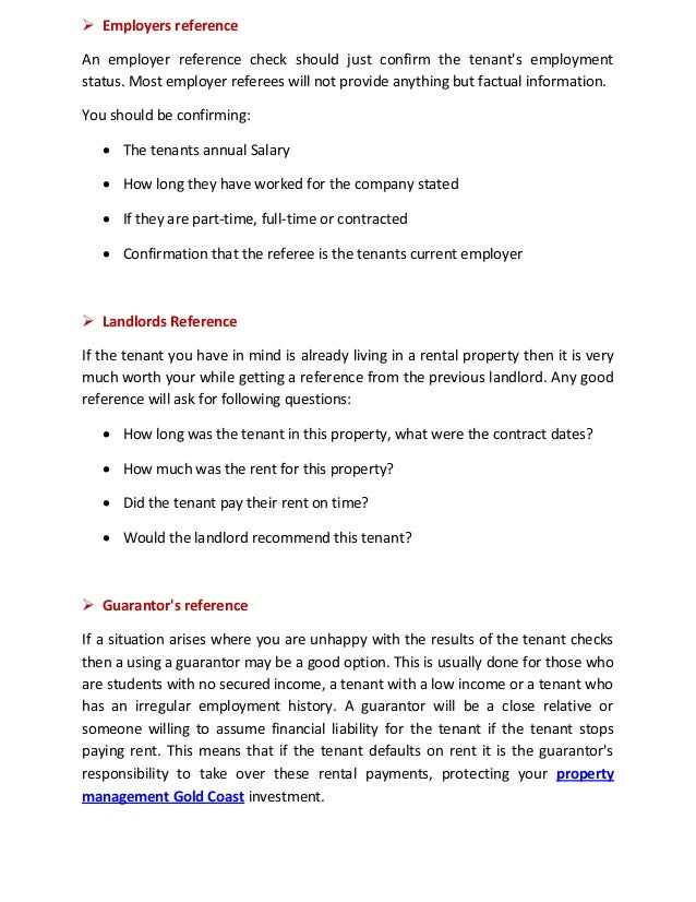 How to find the best tenants with property management gold coast – Reference Letter from Employer for Rental