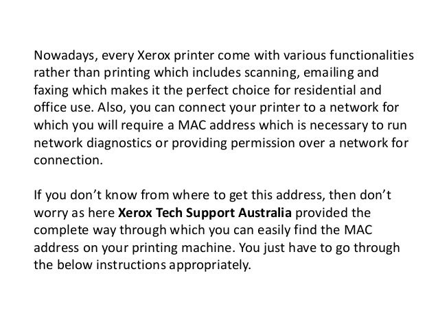 How To Find The MAC Address on My Xerox Printer