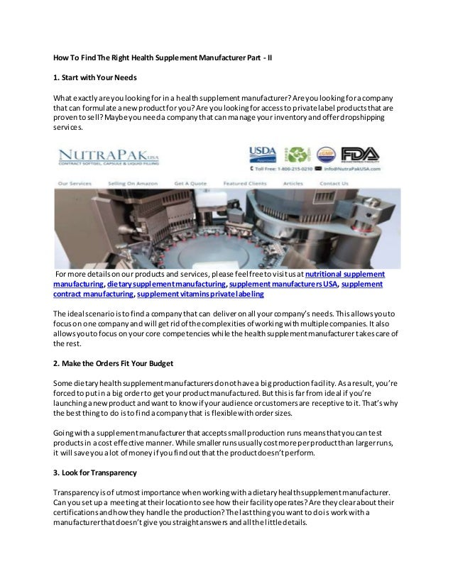 How to find the right health supplement manufacturer part ii