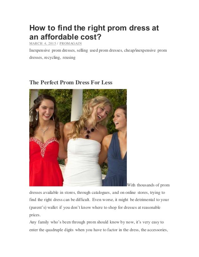 How to find the right prom dress at an affordable cost
