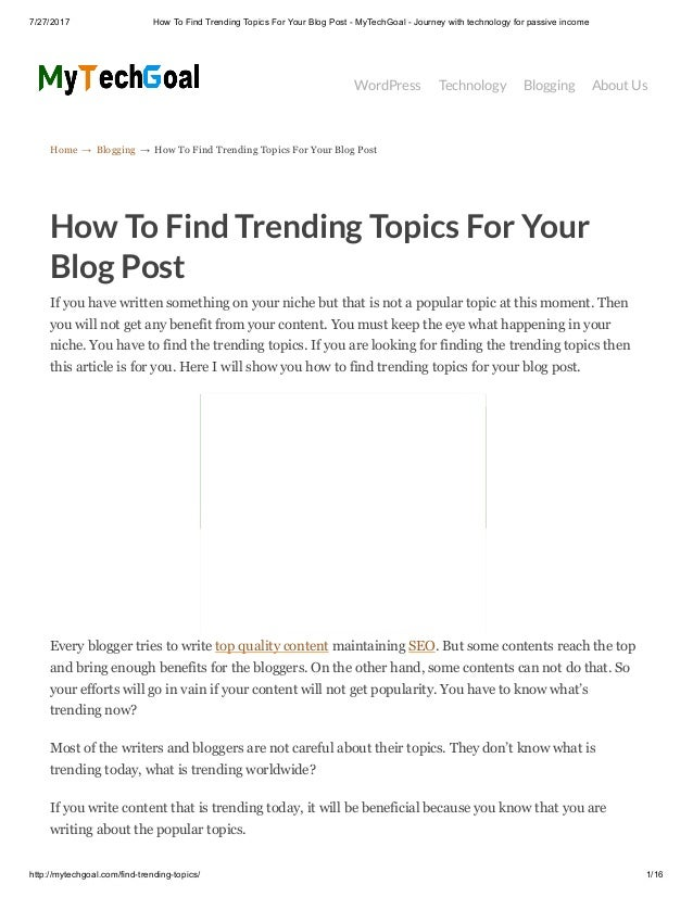 How to find trending topics for your blog post