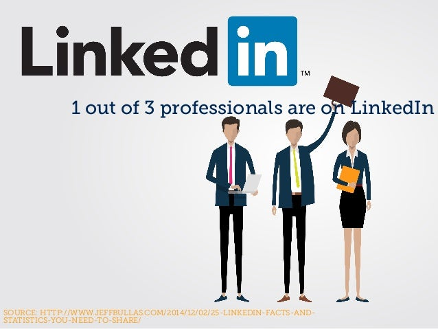 SOURCE: HTTP://WWW.JEFFBULLAS.COM/2014/12/02/25-LINKEDIN-FACTS-AND- STATISTICS-YOU-NEED-TO-SHARE/ 1 out of 3 professionals...
