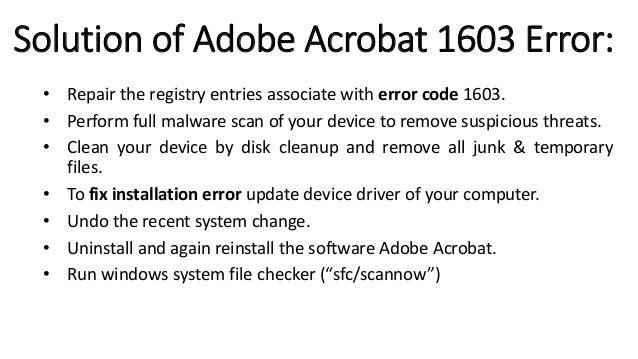 How to Fix Adobe Acrobat Error 1603