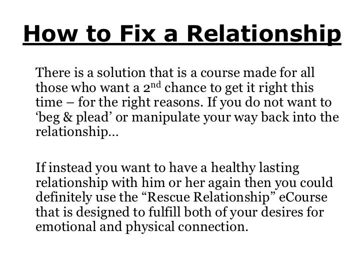 what to do to fix a relationship