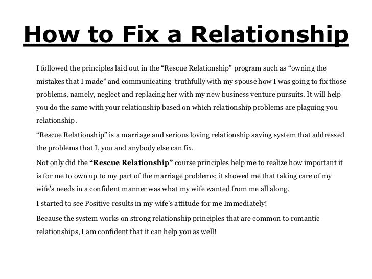 Fix How Do My Relationship I