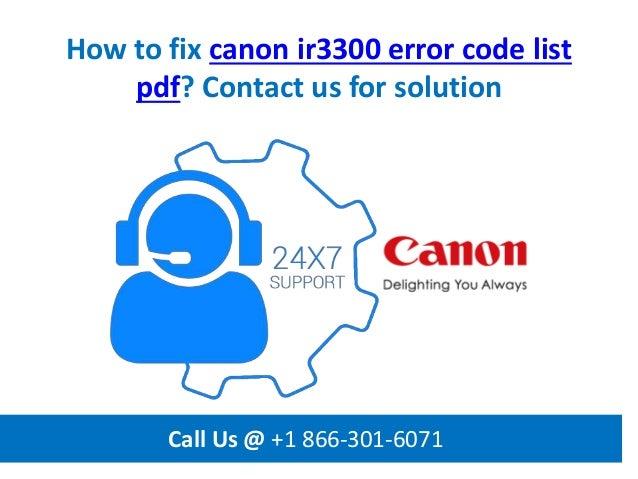 Canon Ir3300 Error Codes List Pdf