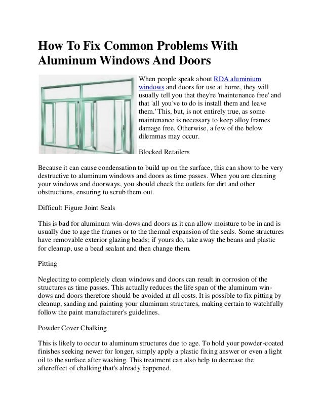 How to fix common problems with aluminum windows and doors