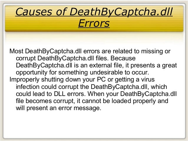 How To Fix DeathByCaptcha dll is Missing / Not Found Error Messages