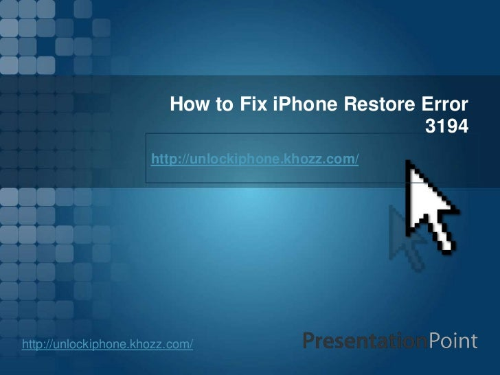 How to fix i phone restore error 3194