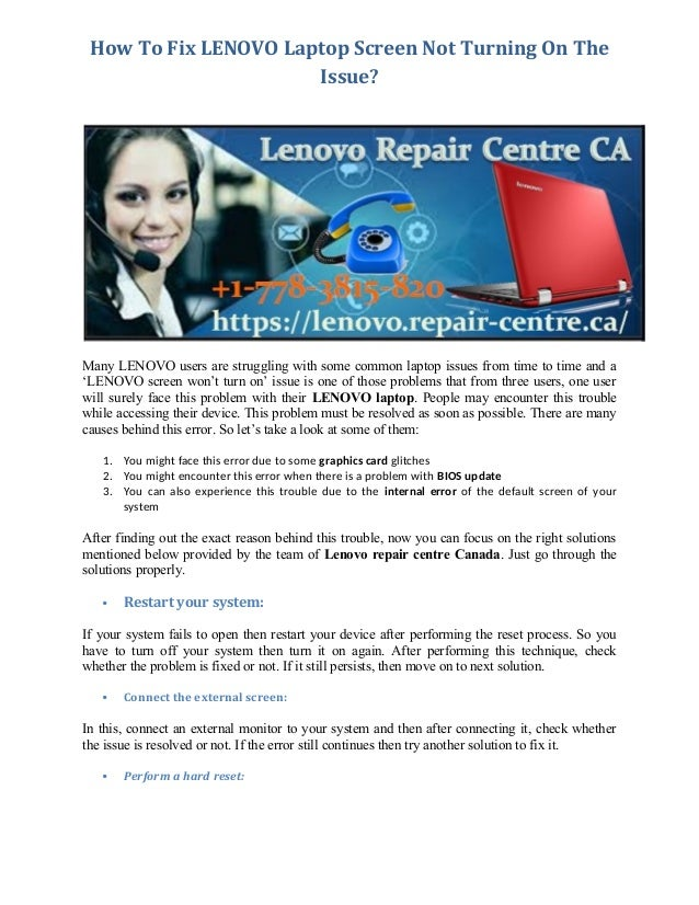 How To Fix LENOVO Laptop Screen Not Turning On The Issue? Many LENOVO users are struggling with some common laptop issues ...