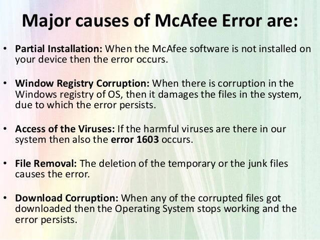 How to Fix McAfee Virus Scan Error 1603? Dial: +1-888-688-8264