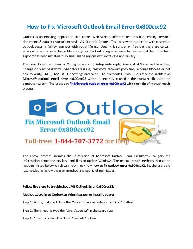 How to Fix Microsoft Outlook Email Error 0x800ccc92 Outlook is an emailing application that comes with various different f...