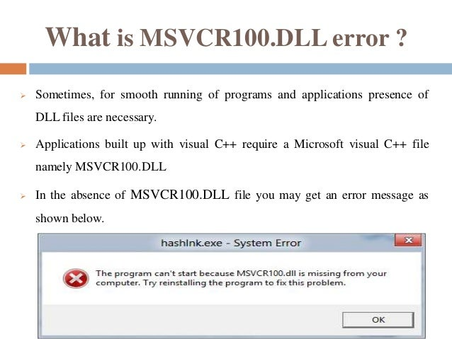 How To Fix Microsoft Visual C DLL Files Missing
