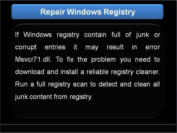 how to fix msvcr71.dll file missing error