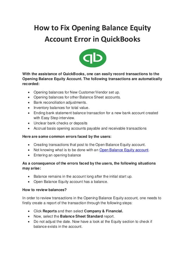 how to fix opening balance equity account error in quickbooks