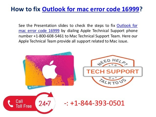 How to fix outlook for mac error code 16999 call us @+1 844