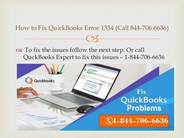 How to Fix QuickBooks Error Code 1334 (844706*6636)