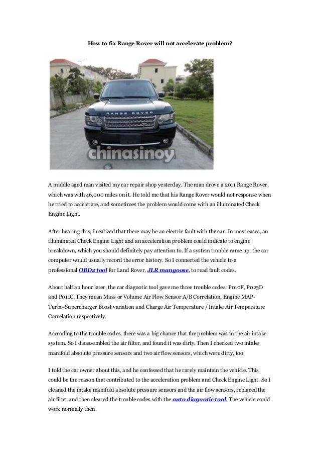 How to fix range rover will not accelerate problem