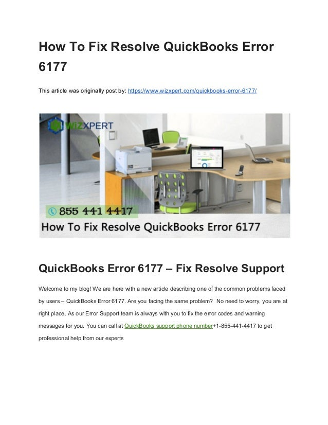 How to fix resolve quick books error 6177