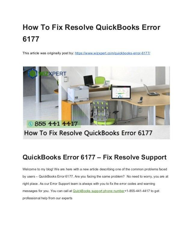 How to fix resolve quick books error 6177