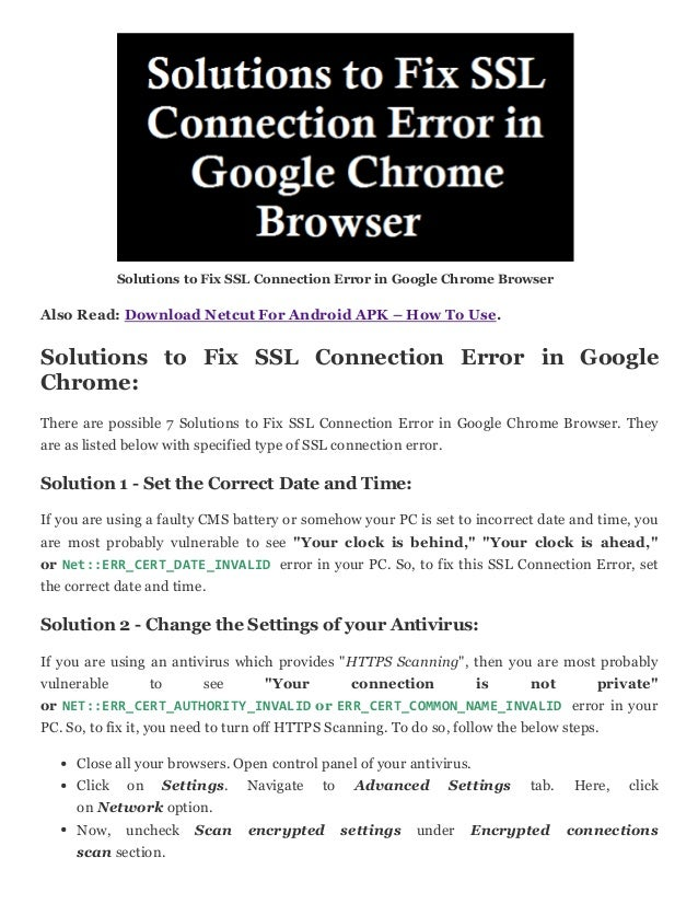 How to fix ssl connection error in google chrome browser [solved]