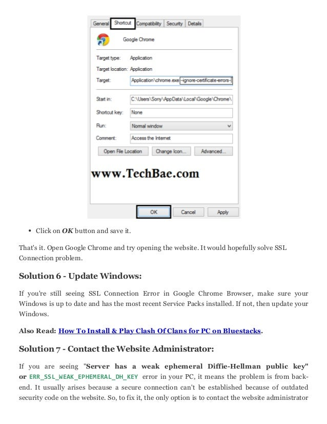 How to fix ssl connection error in google chrome browser