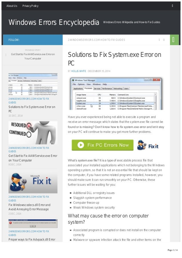 How To Fix Systemexe Error