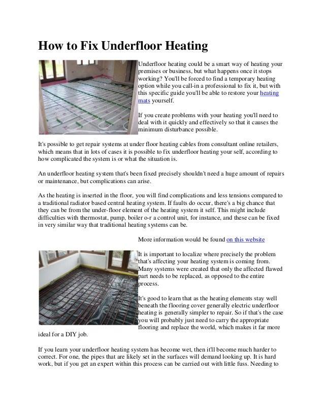 How to fix underfloor heating