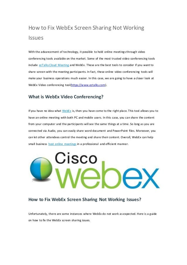 How to fix webex screen sharing not working issues
