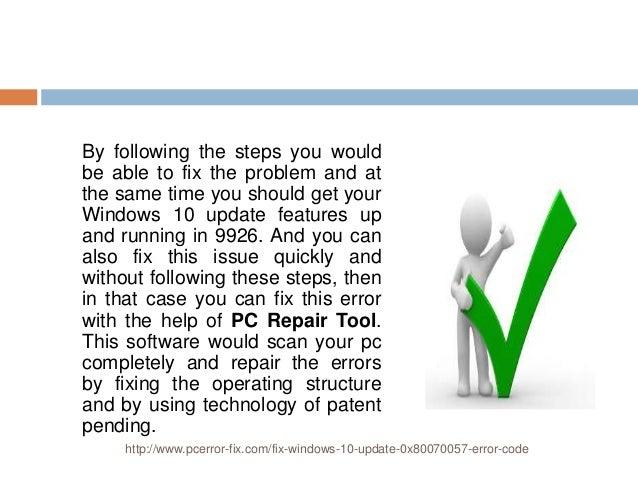 How to fix windows 10 update 0x80070057 error code
