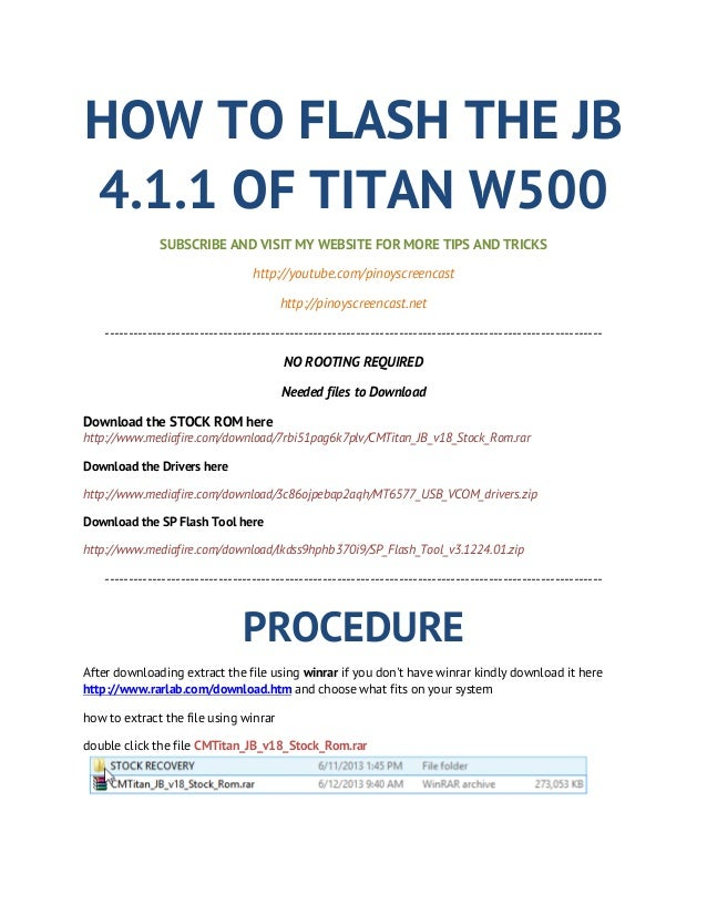HOW TO FLASH THE JB4.1.1 OF TITAN W500SUBSCRIBE AND VISIT MY WEBSITE FOR MORE TIPS AND TRICKShttp://youtube.com/pinoyscree...