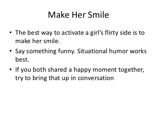Something To Tell A Girl To Make Her Happy