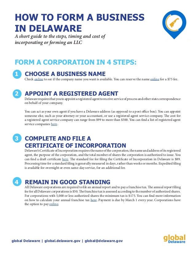 How to form a Delaware INC or LLC in 4 Steps