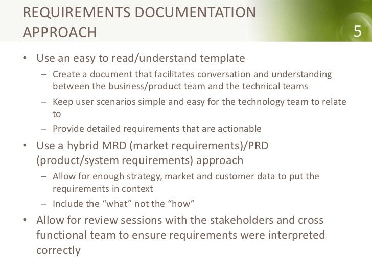 How To Gather Requirements - Market requirements document template
